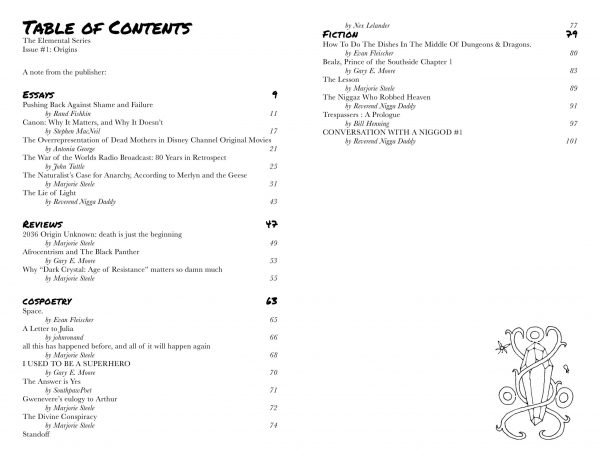 cosgrrrl issue #1 table of contents